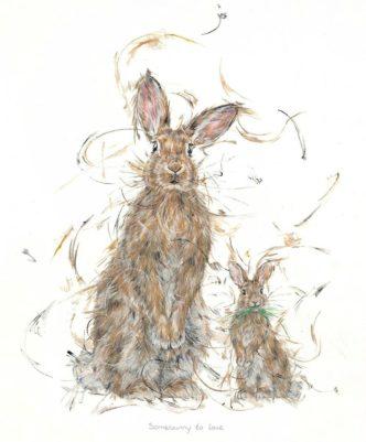 Somebunny to love by Aaminah Snowdon rabbit art cute
