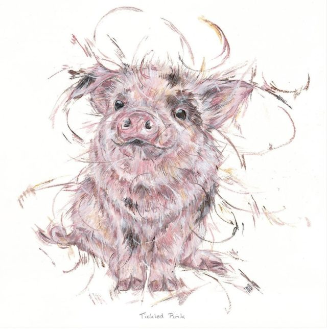 Tickled Pink by Aaminah Snowdon pig art