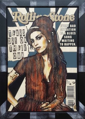 Amy Winehouse (Original Variation) by Rob Bishop Art on Maple Wood Amy Winehouse Art
