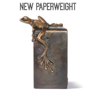 Vertical Paperweight (Solid Bronze Frog Sculpture) by Tim Cotterill Frogman Torquay Devon