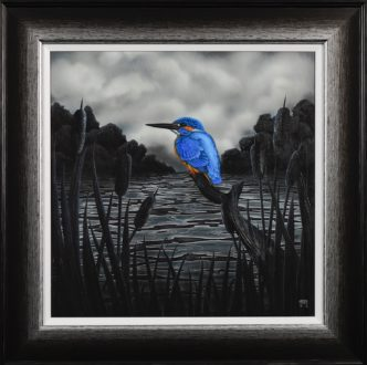 Gone Fishing Kingfisher (Hand Embellished) print by Tamsin Evans Torquay Devon