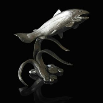 Salmon Nickel Resin Sculpture by Mike Simpson