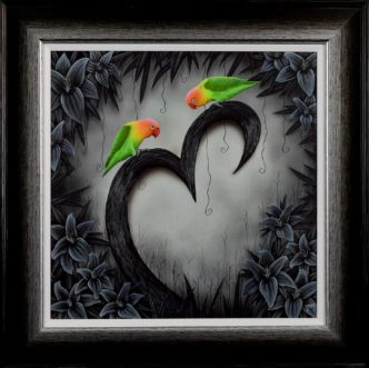 Rendezvous Love Birds (Hand Embellished) print by Tamsin Evans Torquay Devon