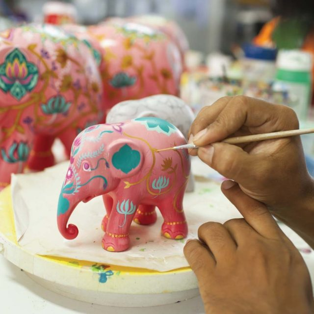 The Celestial Elephant was designed by Chakrit Choochalerm for the Travelling Herd 2018 Parade. If you look up to the star filled night sky, you may be lucky enoughto see the full moon smile down upon you. A personal view of the night heavens!Elephant Par