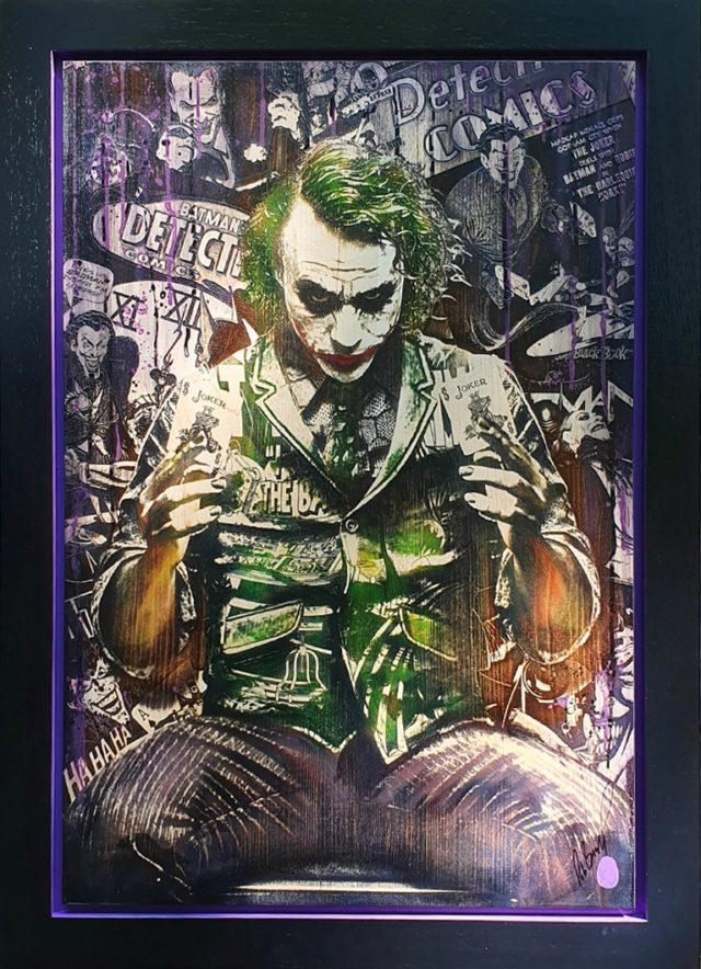 Comic On: Clown Prince (Original Variation) by Rob Bishop Art on Maple Wood Batman The Joker Art