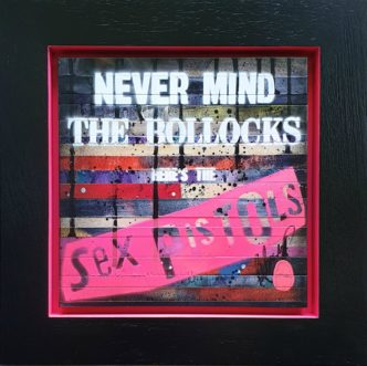 My Diary: Never Mind The Bollocks (Original) by Rob Bishop Art on Maple Wood The Sex Pistols Art