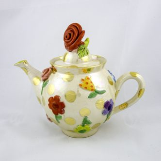 Pressed Flower Tea Pot by Mary Rose Young