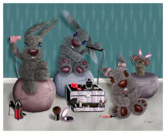 Girl Power by Lisa Holmes Bunny Art Limited Edition