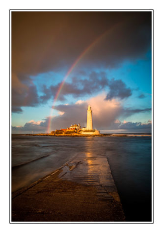 Paul Compton Photography St Mary's Lighthouse with Rainbow